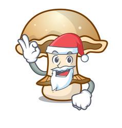 santa portobello mushroom mascot cartoon vector image