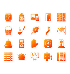 sauna equipment simple gradient icons set vector image