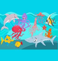 sea life animals cartoon characters group vector image