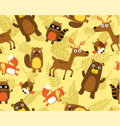 seamless pattern with funny animals cartoon on vector image