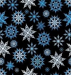 seamless snowflakes on a dark background vector image