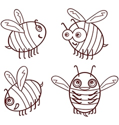 Set cartoon outline cute bees isolated on white vector