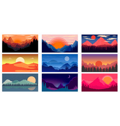 set poster template with wild mountains and vector image