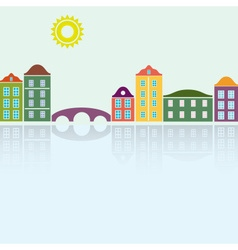 Simple colorful houses reflecting in the water vector