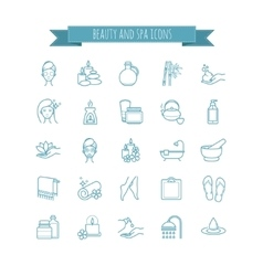 Spa and Beauty thin line icon set vector