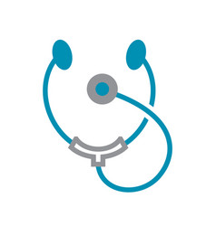 Stetoscope icon grey and blue on white background vector