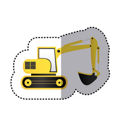 sticker yellow backhoe with crane for construction vector image