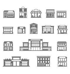 Stores and malls black white icons set vector image vector image