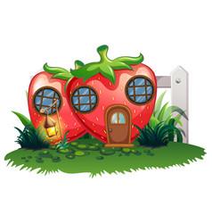 Strawberry house in garden vector