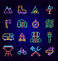 summer camp neon icons vector image