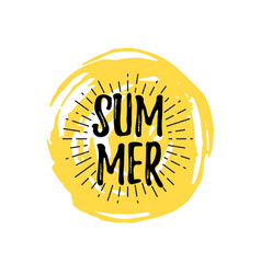 summer logo with doodle hand drawn sun background vector image