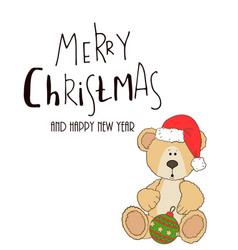 teddy with christmas hat and gift box vector image