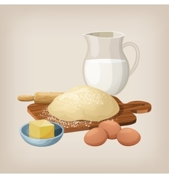 The dough on board with a rolling pin eggs vector