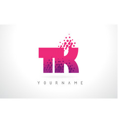 tk t k letter logo with pink purple color and vector image