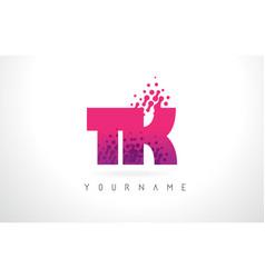 Tk t k letter logo with pink purple color vector
