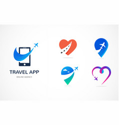 Travel agency tourism app and trips logo vector