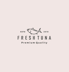 tuna fish logo hipster retro vintage emblem label vector image