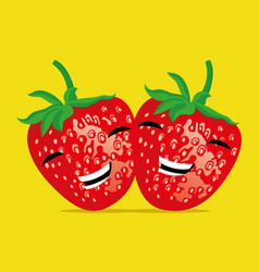 two funny strawberries vector image