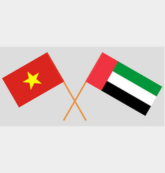 vietnam and united arab emirates flags vector image