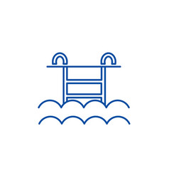 water pool line icon concept water pool flat vector image