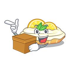 With box cartoon lemon cake with lemon slice vector