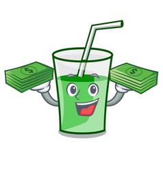 With money bag green smoothie mascot cartoon vector