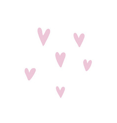 with six pink hearts isolated vector image