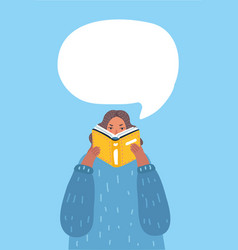 woman reading a book with thought bubble vector image