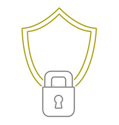 yellow line shield and padlock object to security vector image