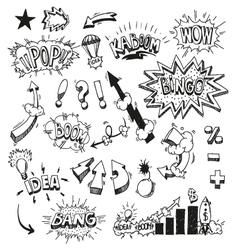 Set comic book explosion vector image
