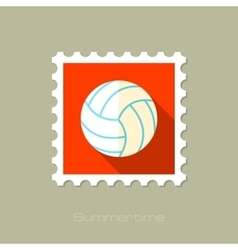 Volleyball flat stamp with long shadow vector
