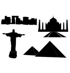 World landmarks silhouettes vector image