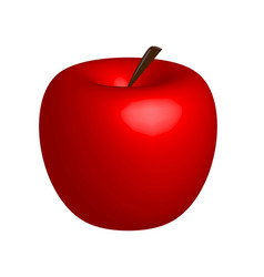 3d apple red apple on white background vector image vector image