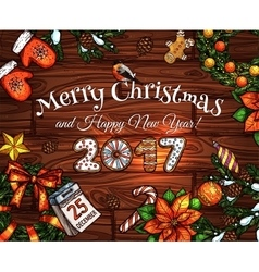 Christmas and New Year sketched poster design vector image