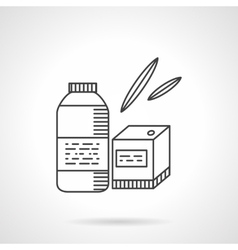 Organic food thin line icon Bottle and box vector image vector image