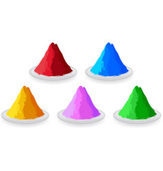 Set of colored powders for Happy Holi vector image vector image