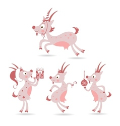 set of cute Christmas goats vector image vector image