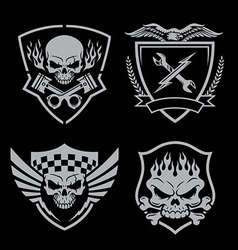 Skull motor crest badge emblem set vector image vector image