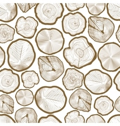 Wood ring saw cuts seamless pattern vector