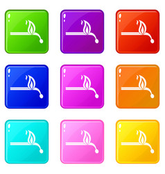 burning match icons 9 set vector image vector image