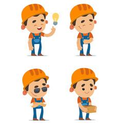 cartoon builders vector image vector image