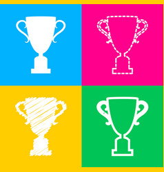 champions cup sign four styles of icon on four vector image