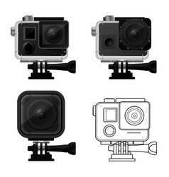 set of action camera icons in waterproof case vector image vector image