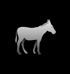 silhouette of a gray donkey standing donkey vector image