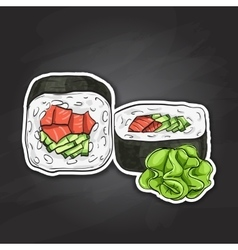sushi color sticker UnakuiMaki roll vector image