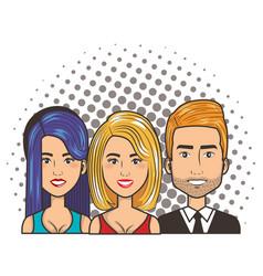 three women and man portrait pop art comic style vector image