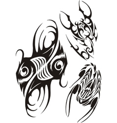 Zodiac Signs - fish and scorpion set vector image