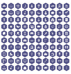 100 balance icons hexagon purple vector