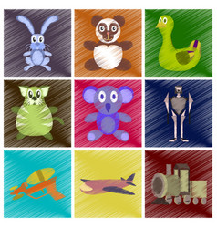 assembly flat shading style icons kids toys vector image vector image