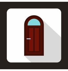 Brown arched wooden door with glass icon vector image